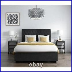 Safina Rolltop Double Ottoman Bed Dark Grey Velvet Front Opening Storage Space