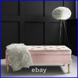 Safina Storage Bench in Baby Pink Velvet with Button Detail BUN/SAF058/76567