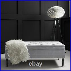 Safina Storage Bench in Grey Velvet BUN/SAF049/70718