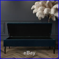 Safina Striped Top Storage Bench in Navy Blue Velvet BUN/SAF077/75268