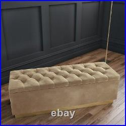 Safina Velvet Storage Blanket Box in Light Beige with Button Detail SAF118