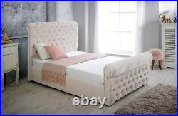 Scroll Chesterfield Upholstered Ottoman Storage Gas Lift Plush Velvet Sleigh Bed