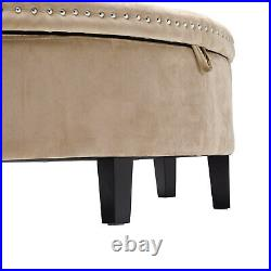 Semi-round Upholstered Storage Bench Ottoman Bed End Hallway Window Seat Stools