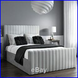 Side Lift Storage Bed in Silver Grey Velvet Double size