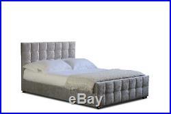 Silvanna Silver Velvet Ottoman Storage Bed Lift Up Frame With Mattress Set