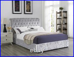 Silver Crushed Velvet Double Bed Frame with Ottoman Storage Roll Top Headboard