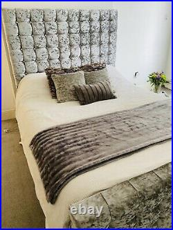 Silver Crushed Velvet Ottoman Storage Gas Lift King Size Bed With Mattress