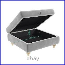 Silver Grey Ottoman Storage Footstool Buttoned Inez INE005
