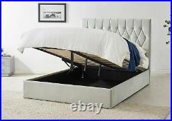 Silver Grey Velvet Ottoman Storage Bed Gas Lift Frame & Upholstered Headboard