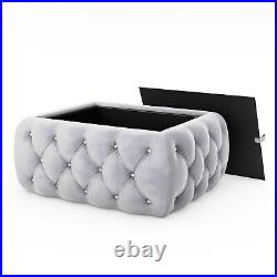 Silver Grey Velvet Storage Coffee Table Buttoned Clio CCC009