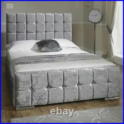 Silver Velvet Bed Frame Double Size 4FT6 Fabric Storage Bedstead Contemporary UK