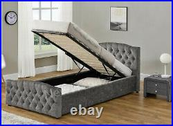 Single Ottoman Storage Gas Lift Crush Velvet/ Linen Fabric Bed with Fabric Buttons