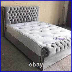 Sleigh Scroll Frame Upholstered Gas Lift Storage Bed in Plush Velvet