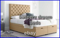 Soft Plush Divan Base Storage Bed, Footend Opening ottoman Gas Lift Storage