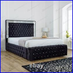 Soft Plush Velvet Chesterfield Mirrored Ottoman Storage Bed with Headboard