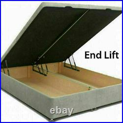 Soft Velvet Gas Lift Ottoman Storage Bed Frame Base with Headboard and Footboard