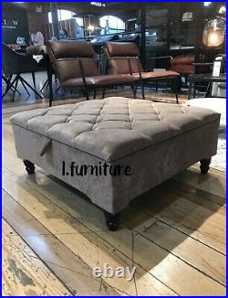 Square Storage Ottoman footstool and Coffee Table Upholstered HANDMADE Brown