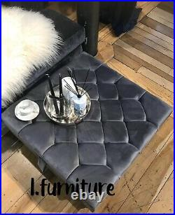 Square Storage Ottoman footstool and Coffee Table Upholstered HANDMADE Grey