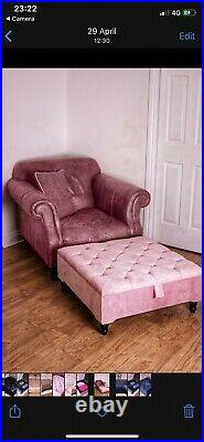 Square Storage Ottoman footstool and Coffee Table Upholstered HANDMADE Pink
