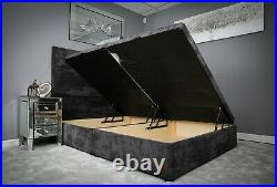 Storage Bed Fabric Ottoman Upholstered Gas Lift Base Frame with 54 Headboard
