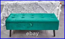 Storage Ottoman Upholstered Footstool Velvet Bench GREEN