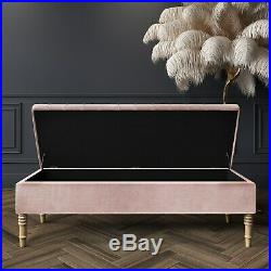 Striped Top Ottoman Storage Bench in Baby Pink Velvet