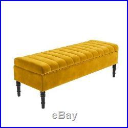 Striped Top Ottoman Storage Bench in Mustard Yellow Velvet