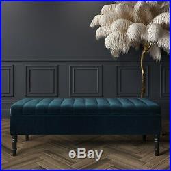 Striped Top Ottoman Storage Bench in Navy Blue Velvet