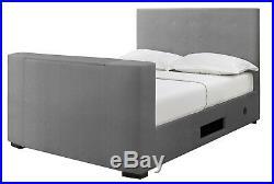 Studio Fabric TV Bed Electric Remote For 32 TV in Plush Velvet Grey Sky Storage