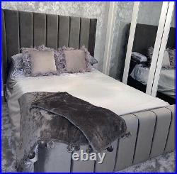 Stylish Wingback Bed Panel Bed Gaslift Storage Ottoman Bed Frame Soft Velvet