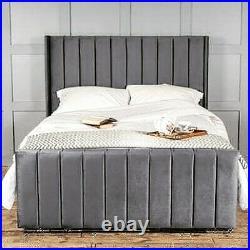 Stylish Winged Plush Velvet Bed Frame Double King Grey Plush Panel Upholstered