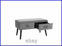 Suitcase Coffee Table Grey Velvet Drawers Storage Upholstered Amtrak