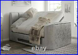 TV Bed Silver Crush Velvet Upholstered Ottoman/Storage 4ft6/5ft By Time4Sleep
