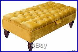 Tiffany Velvet Large Medium Chesterfield Buttoned Upholstered Footstool Ottoman