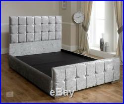 Upholstered Bed Frame King Size 5Ft Velvet Fabric Storage Bedstead Contemporary