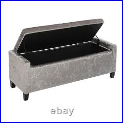 Upholstered Bench Storage Box Buttoned Ottoman Chair Chest Cabinet Stool ZH348
