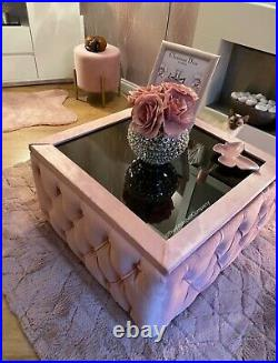 Upholstered Chesterfield Glass Top Coffee Table