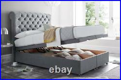 Upholstered Chesterfield Sleigh Ottoman Storage Bed Frame Base with Headboard