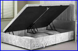Upholstered Crushed Velvet Ottoman Storage Gas Lift Up Bed Frame with Headboard