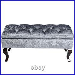 Upholstered Crushed Velvet Tufted Window Seat Storage Ottoman Foot Stool Retro