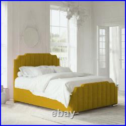 Upholstered Gas Lift Art Deco Ottoman Storage Bed Frame with Headboard Footboard