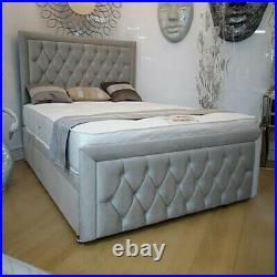 Upholstered Gas Lift Up Divan Ottoman Storage Bed Frame Base Headboard Footboard