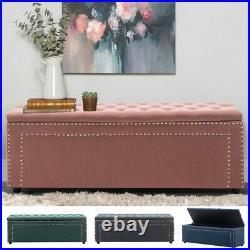 Upholstered Matte Velvet Buttoned Ottoman Bedside Footstool Storage Box Bench UK
