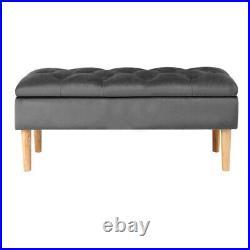 Upholstered Ottoman Storage Bench Stool for Bed-end Hallway Velvet 100cm Chair