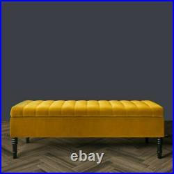 Upholstered Ottoman Storage Footstool Lift Up Blanket Box Bench Plush Velvet