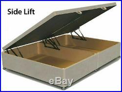 Upholstered Plush Velvet Wing Back Headboard Storage Gas Lift Ottoman Bed Frame