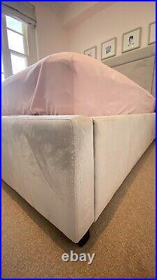 Upholstered Storage Bed, King Size UK, Silver / Grey Velvet, Ottoman (BED ONLY)