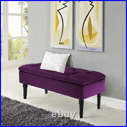 Upholstered Storage Bench Ottoman Seater Stools Window Seat Velvet Fabric Purple