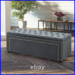 Upholstered Tufted Velvet Ottoman Storage Blanket Toy Stud Box Bench Window Seat