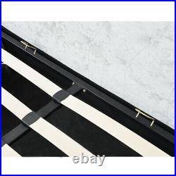 Upholstered Velvet Bed Frame with Hidden Storage Room 5FT Double King Size